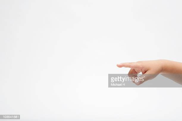 Hand of child who indicates his finger