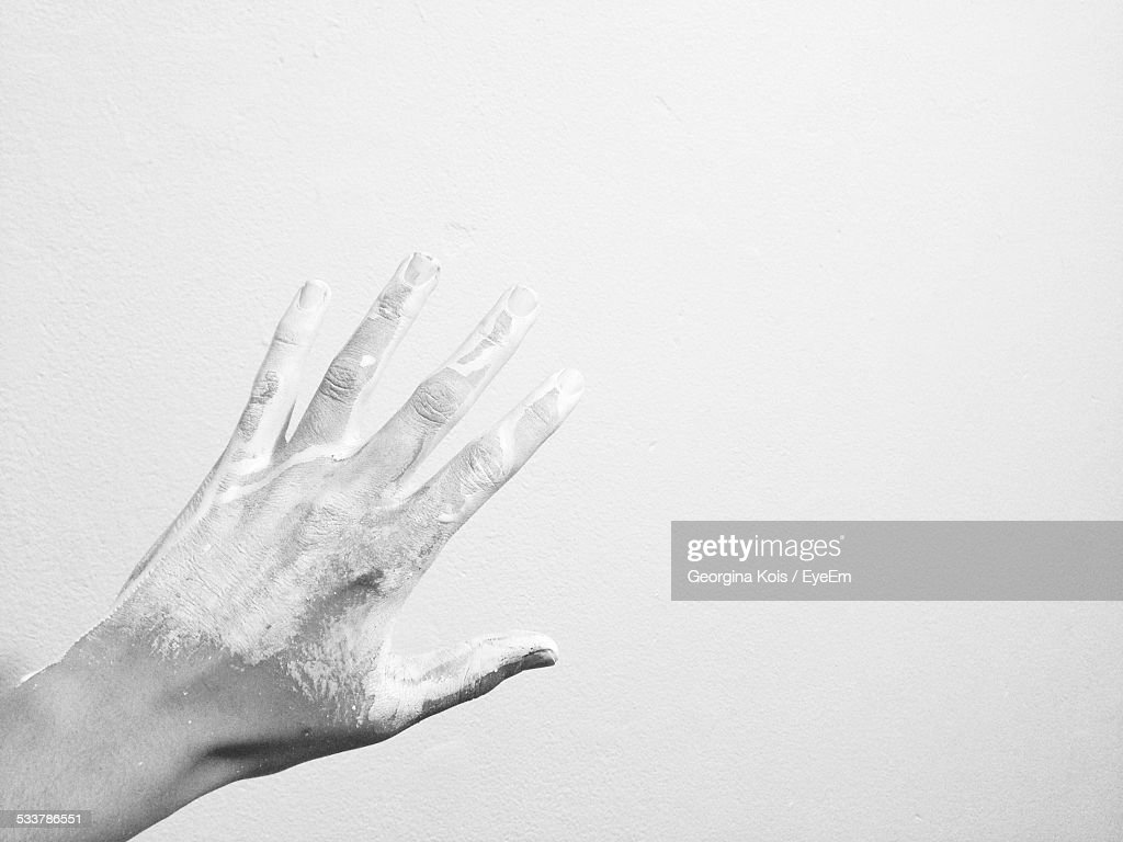 Hand Of Man On White Background : Foto stock