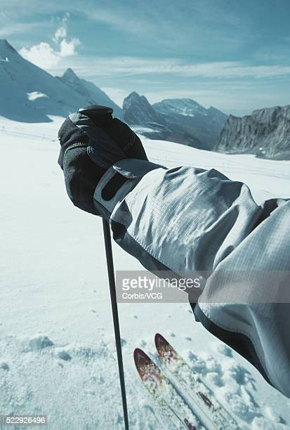 Hand of Skier Holding Ski Pole