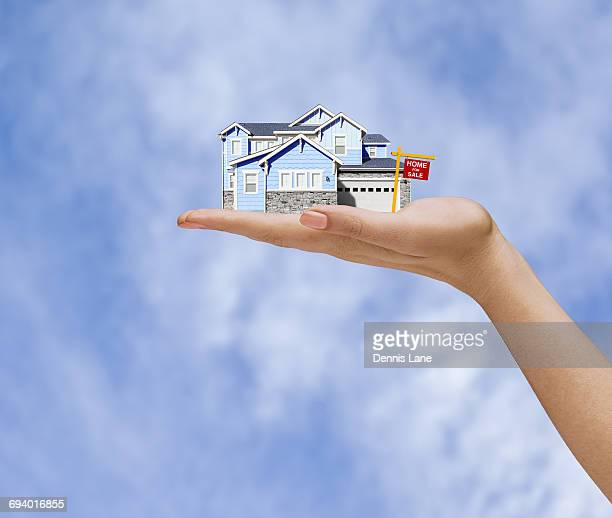 Hand of woman holding home for sale in sky