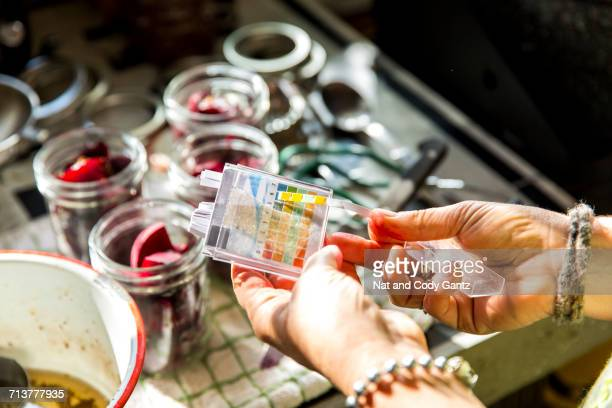 hand of woman ph testing beetroot preserves jars in kitchen - ph value stock photos and pictures