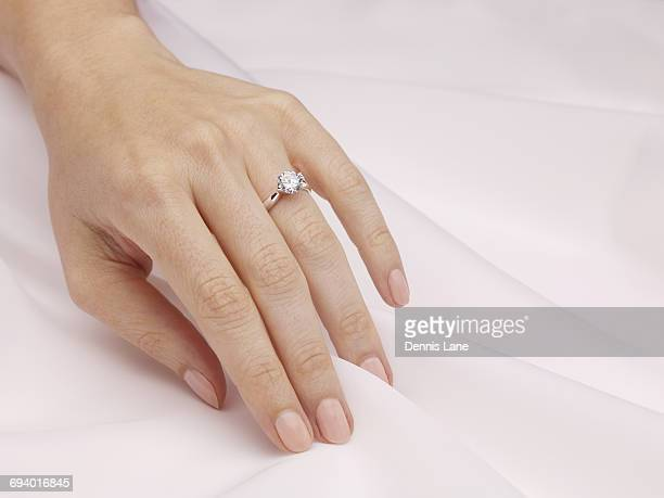 Hand of woman wearing engagement ring