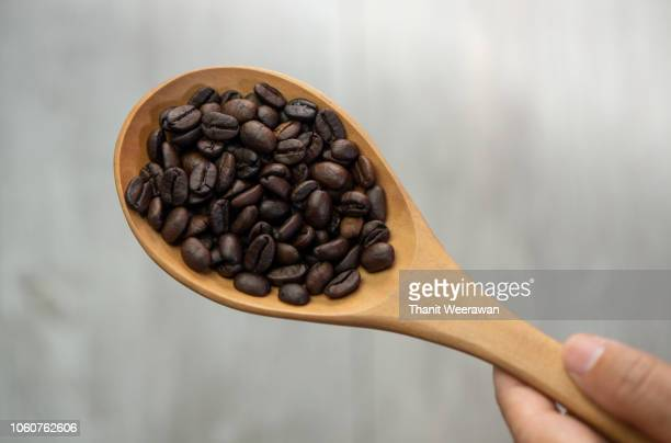 Hand on coffee bean seed in wood spoon