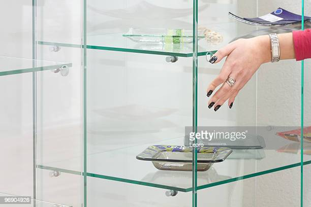 Hand on the glass