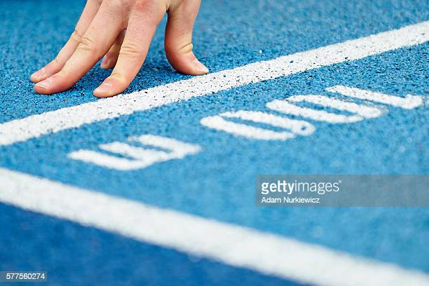 Hand on track during qualification start at men's 100 meters during the IAAF World U20 Championships Day 1 at Zawisza Stadium on July 19 2016 in...