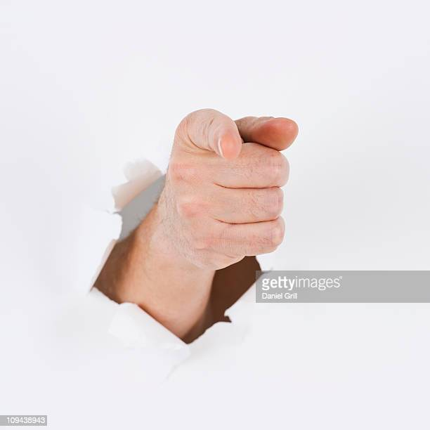 Hand on white background pointing