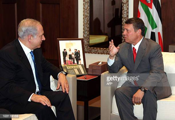 A hand out image made available by the Jordanian Royal Palace on July 27 shows Israeli Prime Minister Benjamin Netanyahu meeting with Jordanian King...