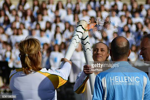Hand over Ceremony of the Olympic Flame to the delegation of the Olympic Games Rio 2016 In Athens on April 27 at the Panathenaic Stadium the venue of...