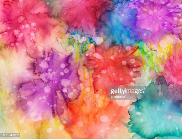 Hand painted abstract background with bright colors and textures