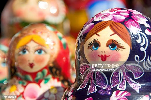 hand painted babushka or matryoshka russian nesting dolls - russia stock pictures, royalty-free photos & images