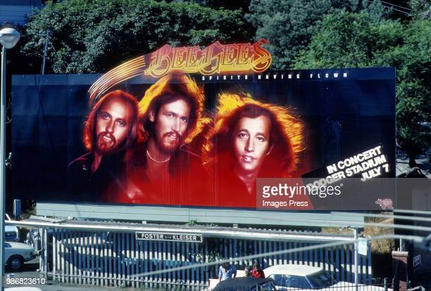 Hand Painted Billboard for the Bee Gees at Dodger Stadium in 1976 in Los Angeles