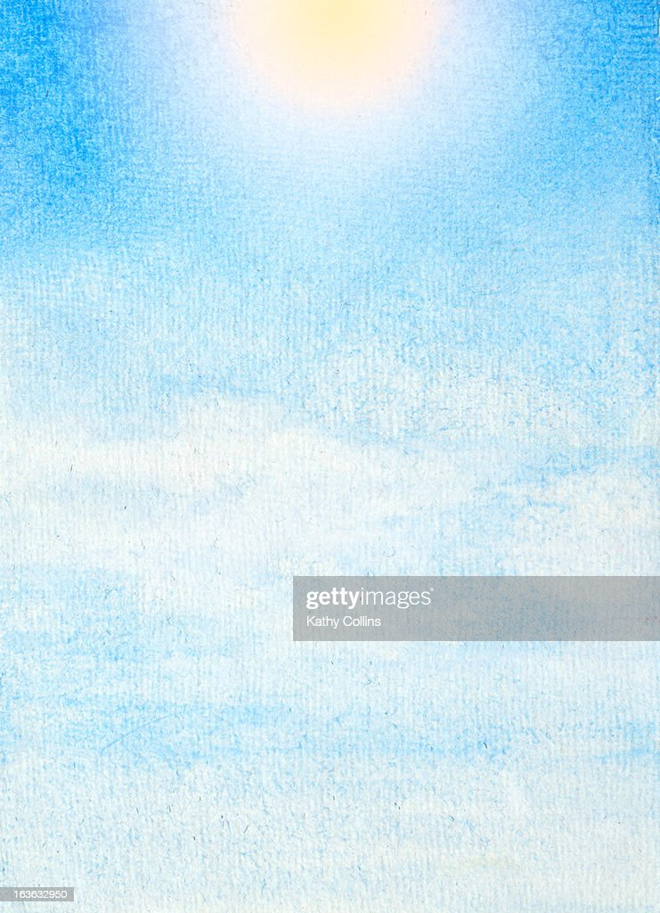 Hand painted blue sky : Stockfoto