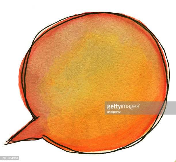 ハンドペイントの鮮やかなオレンジの単語や思考の吹き出し付き