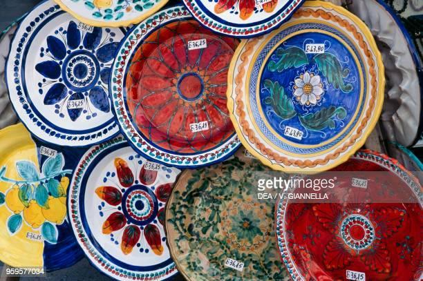Hand painted ceramic plates local crafts Lipari Aeolian Islands Sicily Italy