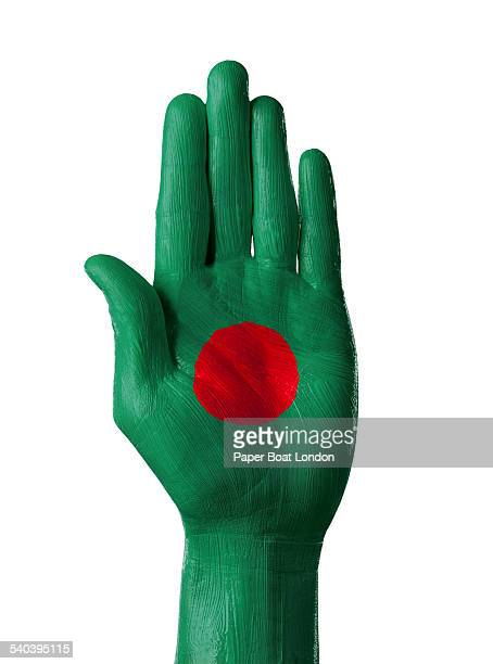 hand painted flag of bangladesh, white background - bangladesh flag stock photos and pictures