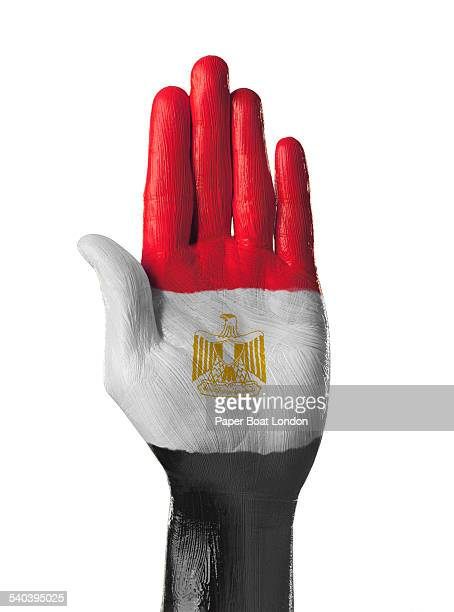 Hand painted flag of Egypt on white background