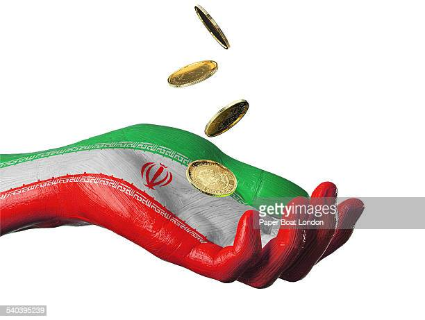 hand painted flag of iran with gold coins - イラン文化 ストックフォトと画像