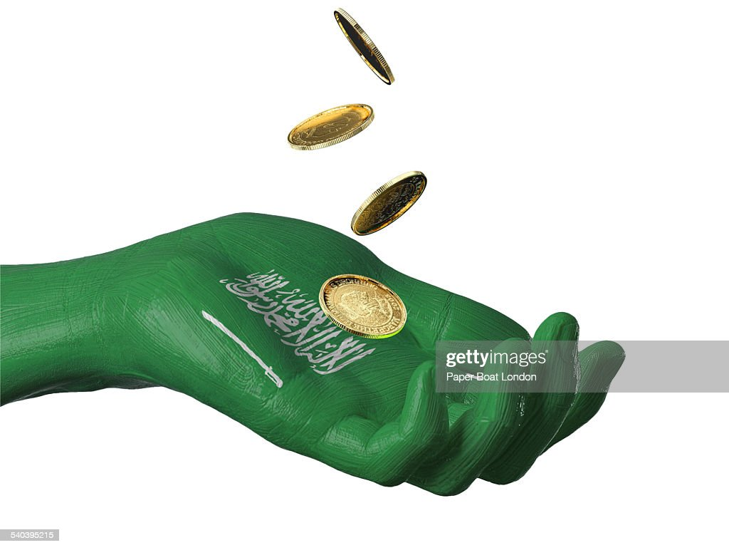 Hand Painted Flag Of Saudi Arabia With Gold Coins Stock Photo