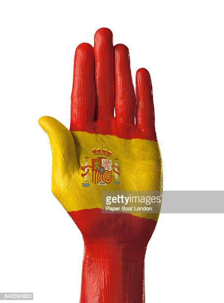 Hand painted flag of Spain on white background