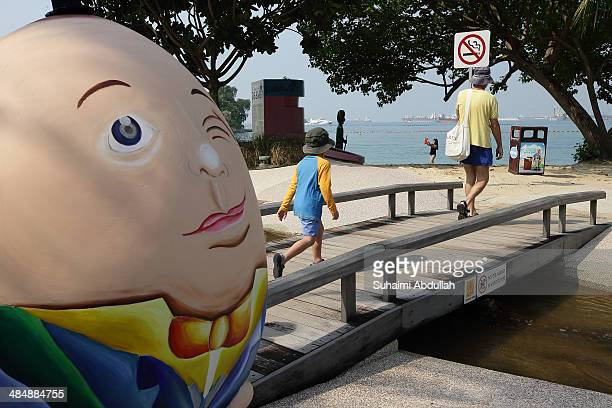 A hand painted Humpty Dumpty giant egg is seen at Sentosa on April 15 2014 in Singapore Spanning across 520 hectares from Mount Faber to the...