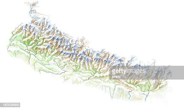 hand painted map - nepal - terai stock pictures, royalty-free photos & images
