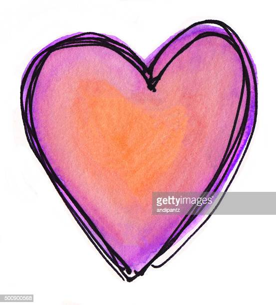 Hand painted orange and purple heart on a white background