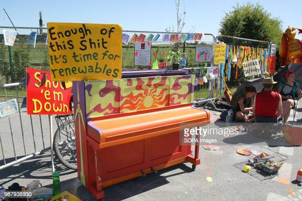 A hand painted piano forms part of a Protest Block outside a Northern Shales gas Company's Fracking Site when Reclaim the Power a Direct Action...