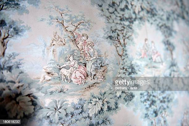 Hand painted wall paper dating from the 1920's in Pineheath house on September 4 2013 in Harrogate England The untouched 40bedroom house belonged to...