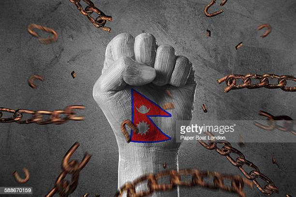 hand painted with flag of nepal ,loose chains - nepali flag stock pictures, royalty-free photos & images