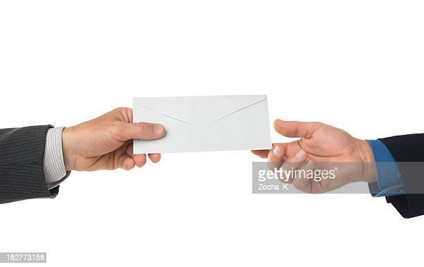 hand passing letter isolated on white - send stock pictures, royalty-free photos & images