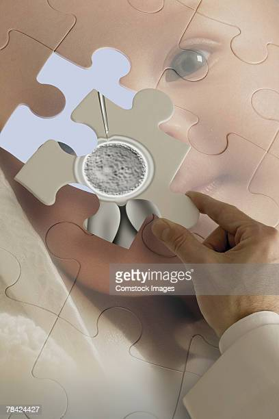 Hand placing in vitro fertilization piece onto baby puzzle