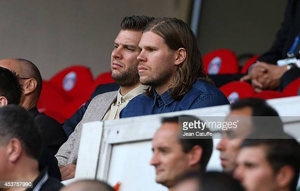 PSG hand players Robert Gunnarsson and Mikkel Hansen attend the French Ligue 1 match between Paris Saint Germain FC and SC Bastia at Parc des Princes...