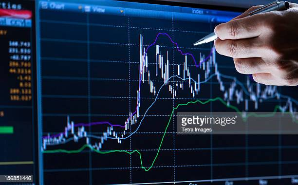 Hand pointing at financial graph, studio shot