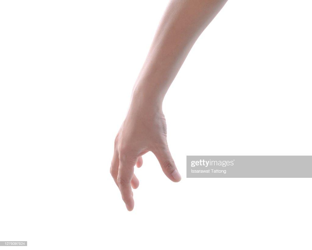 Hand pose like picking something isolated on white : Stock Photo