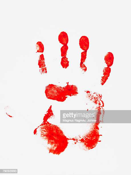 A hand print on a white background.