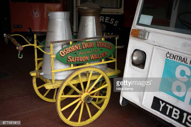 Hand pulled milk cart from the Osborne Dairy in Saffron Walden on open day at Wythall Transport Museum on May 1st 2017 in Wythall England United...