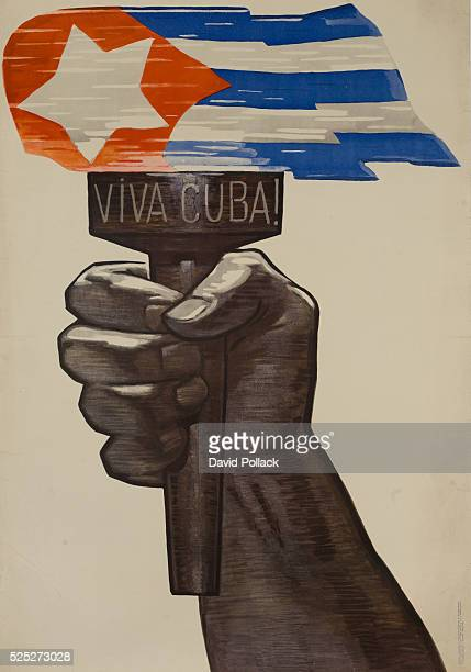 Hand raised with torch inscrived Viva Cuba The Cuban flag as the lit flames