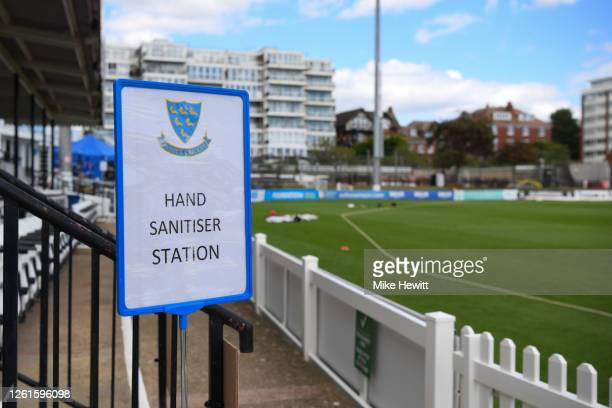 Hand sanitiser station by thr side of the pitch during a friendly match between Sussex and Hampshire at County Ground on July 28, 2020 in Hove,...