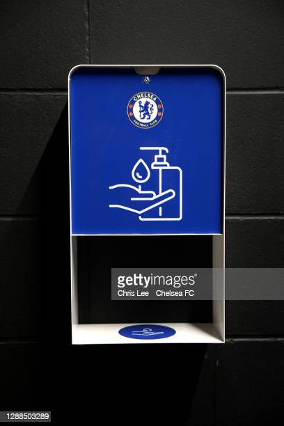 Hand Sanitizer stations in place during the Premier League match between Chelsea and Tottenham Hotspur at Stamford Bridge on November 29, 2020 in...