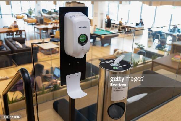 Hand sanitizing station in a WeWork co-working office space in the Waterloo district in London, U.K. On Monday, Aug. 2, 2021. A survey this month...