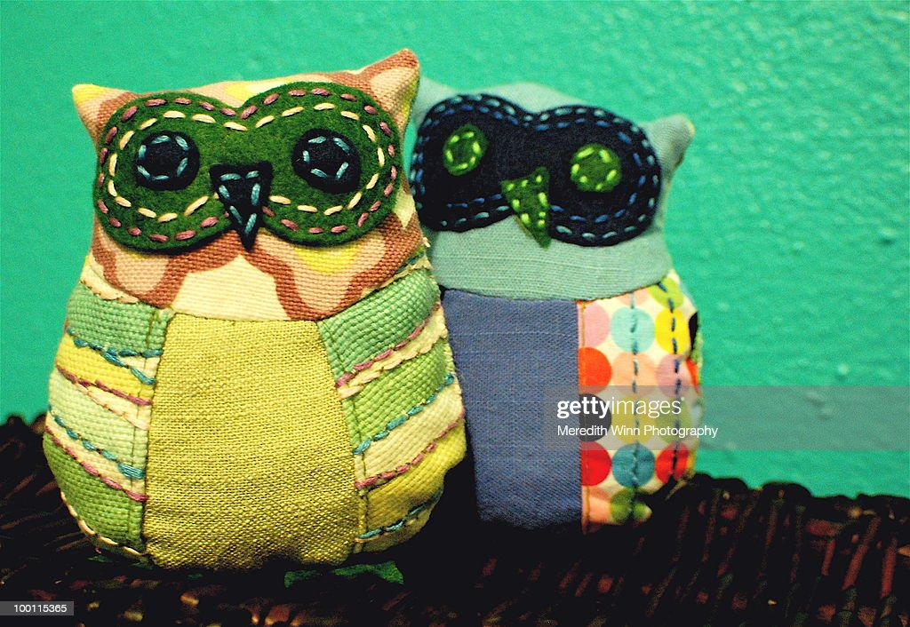 Hand sewn fabric owls : Stock Photo