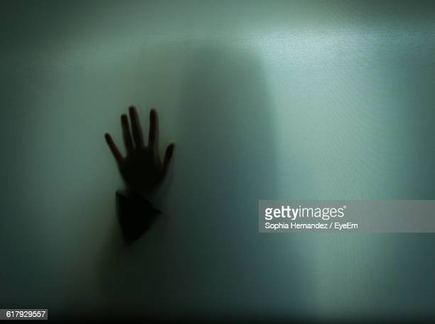 hand shadow of woman on glass - violenza foto e immagini stock
