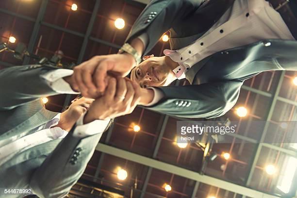 Hand shake of two Japanese businessman