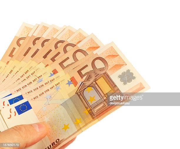Hand zeigen Fünfzig Euro-Banknoten, die hält ein fan