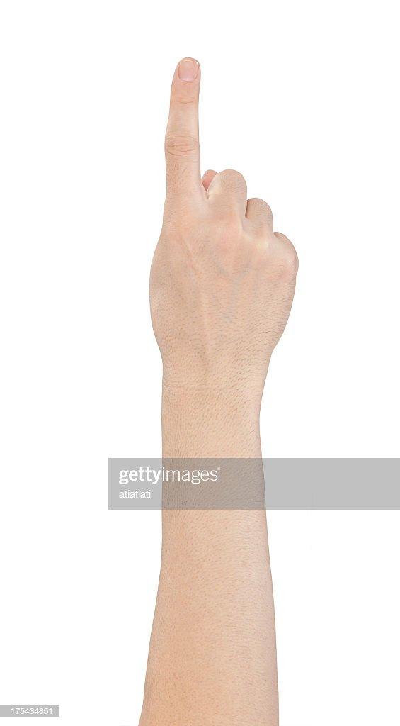 Isolado mão número um, tocando a tela : Foto de stock