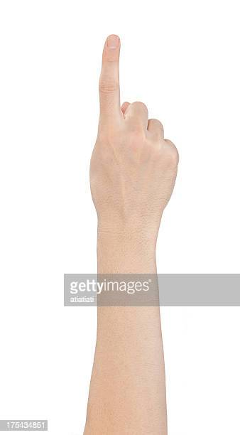 Hand showing one finger on white background