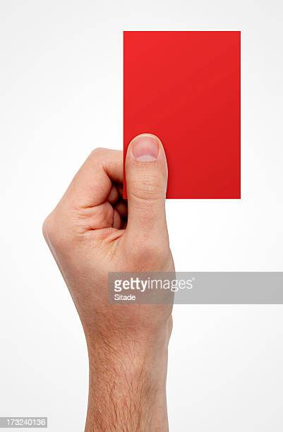 Hand Showing Red Card, With Clipping Path