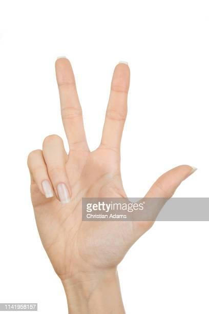 hand sign three - 数字の3 ストックフォトと画像