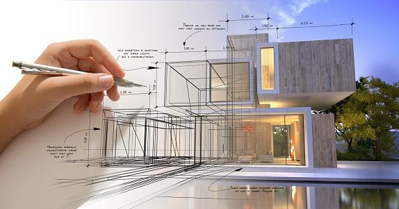 Hand sketching a designer villa with pool 1063723682
