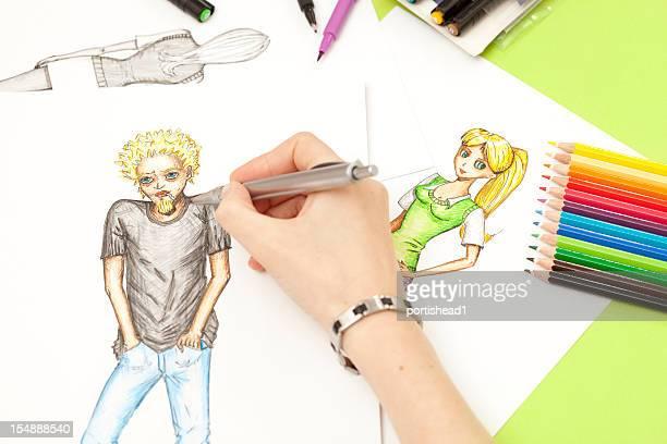 Hand sketching manga characters